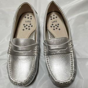 Umi Silver Moc Loafers Slip On Shoes, 30 12